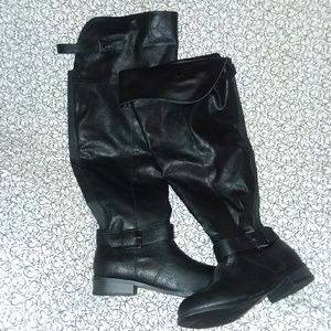 Shoes - Over the knee, faux black leather boots